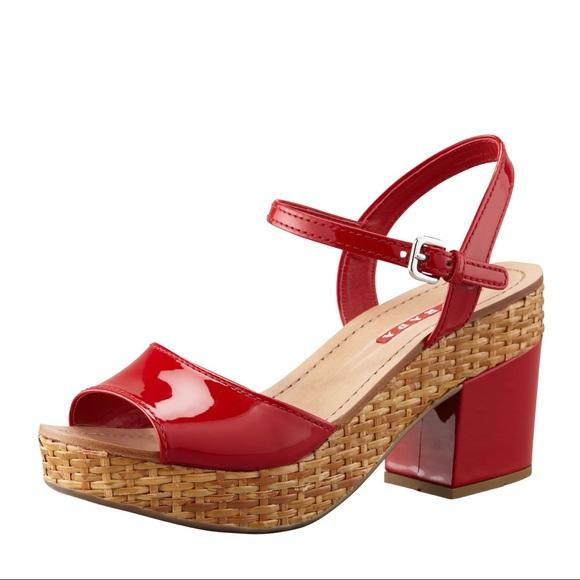 6ba13e15e9e Prada Shoes - Prada Platform Sandals - Red Patent Leather Wicker